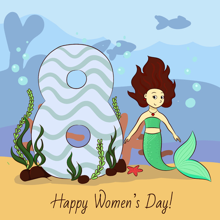 8 march hand drawing vector card with mermaid and the big eight
