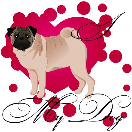 I love my pug vector illustration