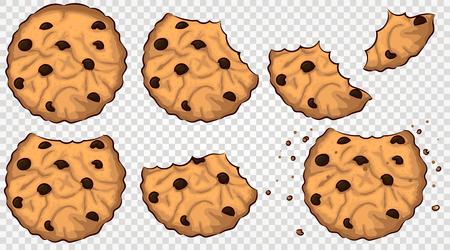 bitten cookies with chocolate chip vector set