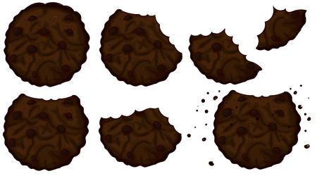 bitten double chocolate cookies set Ilustrace
