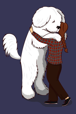 Big dog hug woman hand drawing vector