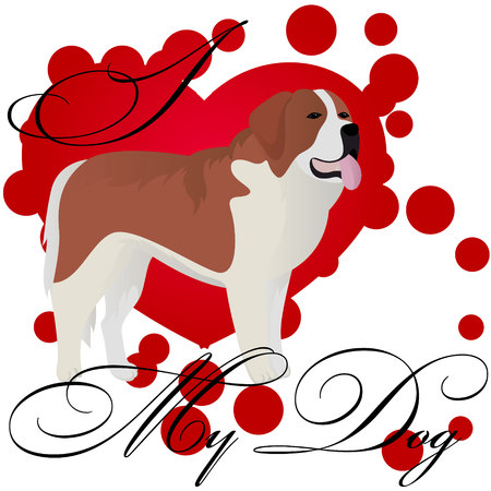 I love my st bernard dog vector illustration