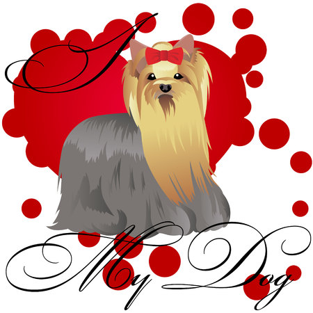 I love my yorkshire terrier vector illustration