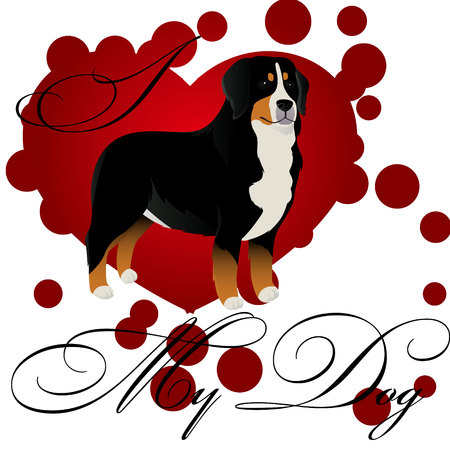 I love my bernese mountain dog vector illustration  イラスト・ベクター素材