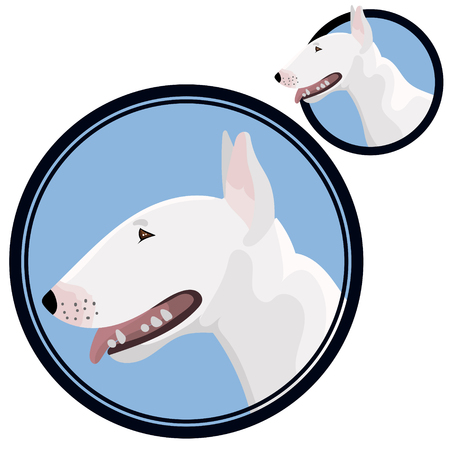 Bull terrier head in circle vector illustration  イラスト・ベクター素材
