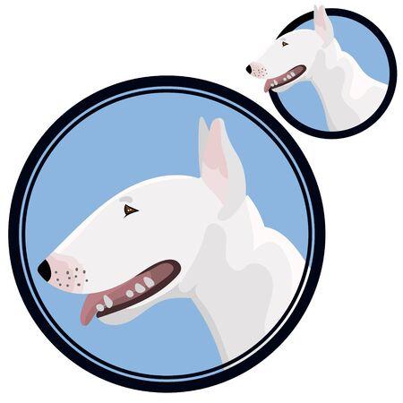 Bull terrier head in circle