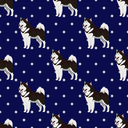 Alaskan Malamute dog seamless pattern Фото со стока - 128643514