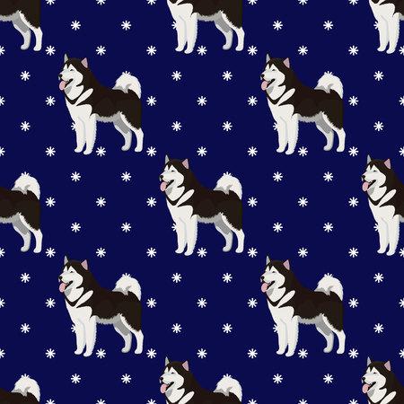 Alaskan Malamute dog seamless pattern Ilustração