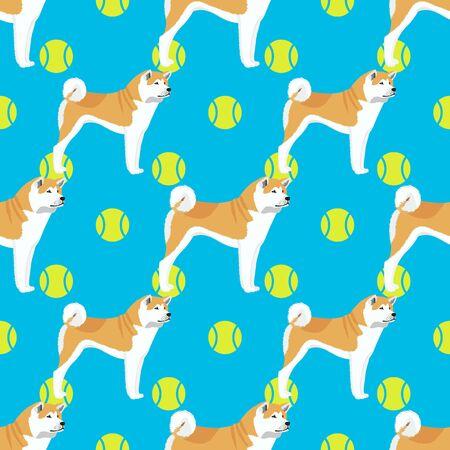 Akita inu dog seamless pattern Imagens