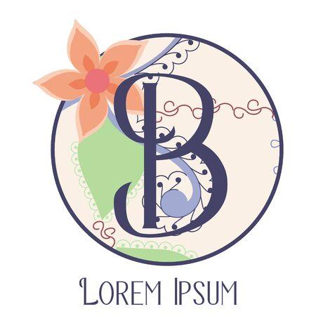 B letter vintage monogram on white background Фото со стока - 129084219