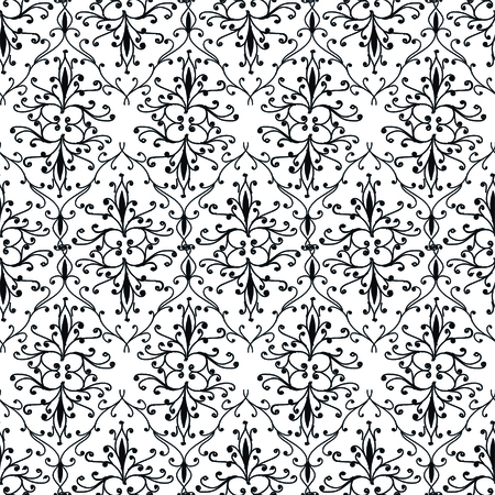 Hand drawing damask pattern vector