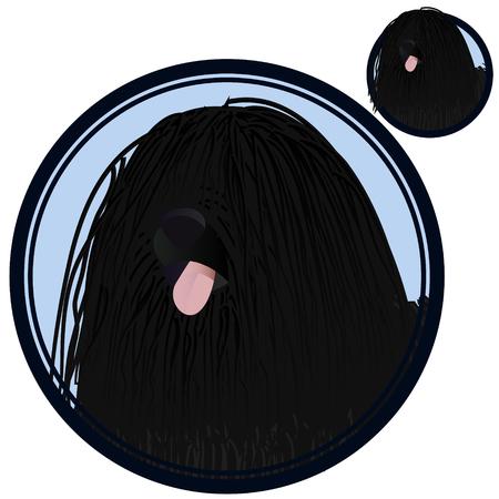 Puli dog head in circle