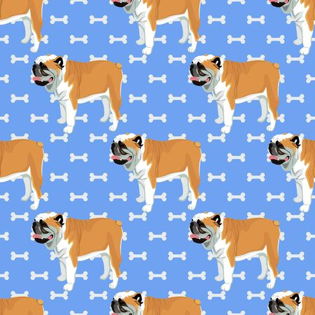 Bulldog cartoon with bones seamless pattern Reklamní fotografie - 129084242