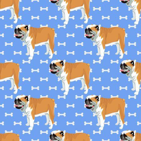 Bulldog cartoon with bones seamless pattern
