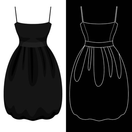 Bubble dress image with white outline silhouette on black vector