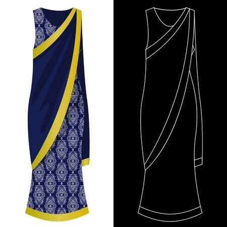 Sari dress image with white outline silhouette on black vector