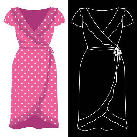 Envelopper l'image de la robe avec une silhouette de contour blanc sur un vecteur noir