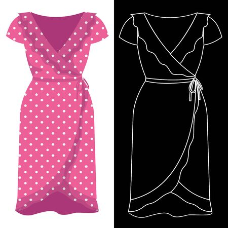 Wrap around dress image with white outline silhouette on black vector