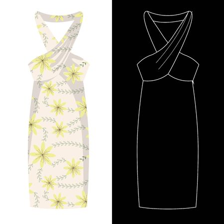 Sarong dress image with white outline silhouette on black