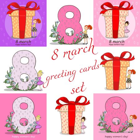 8 march hand drawing cards with girls set Illustration