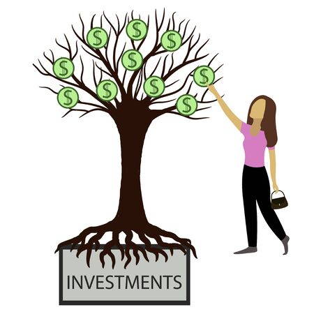 Woman takes money from the tree of investment