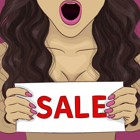 Woman curly brunette with nameplate sale