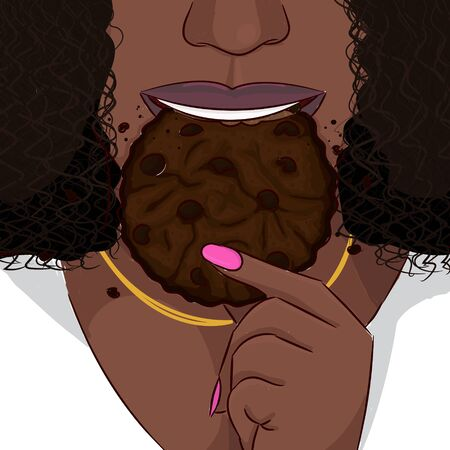 Black woman eat double chocolate cookie hand drawing portrait