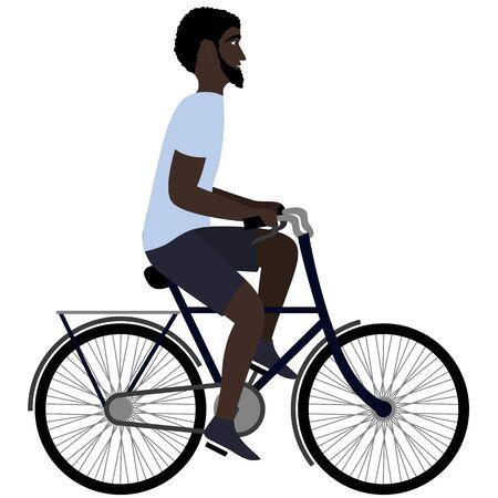 Black man riding a bicycle. Flat illustration Illustration