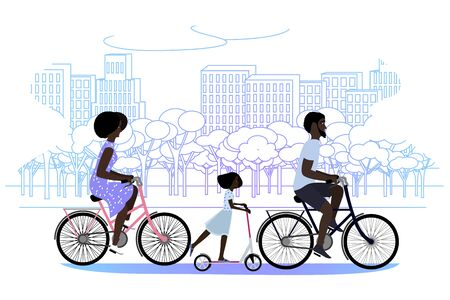 Black family in the park riding bicycles. Vector illustration Иллюстрация