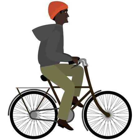 Black man riding a bicyclein warm clothes. Flat illustration
