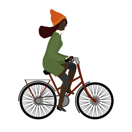 Black woman riding a bicyclein warm clothes. Flat illustration
