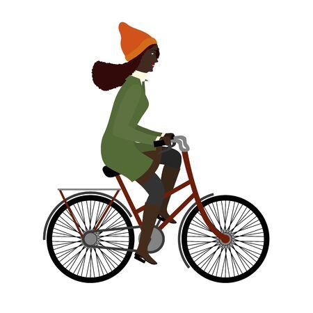 Black woman riding a bicyclein warm clothes. Flat illustration