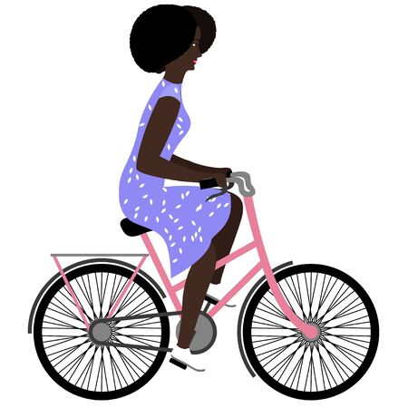 Black woman riding a bicycle. Flat vector illustration