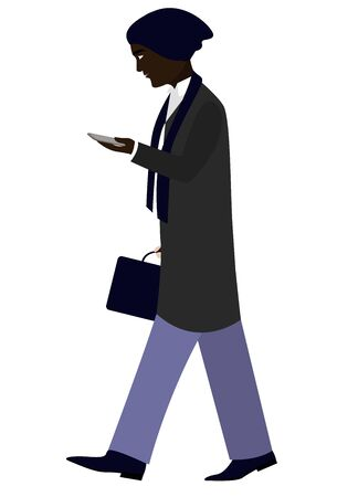 Black man walks with mobile in warm clothes flat style