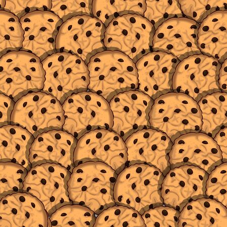 cookies with chocolate chips seamless pattern Çizim
