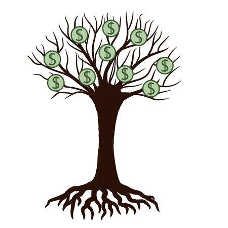Money on the tree cartoon. Vector illustration Illustration
