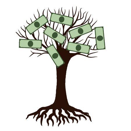 Money bank notes on the tree cartoon. Vector illustration Фото со стока - 132384677
