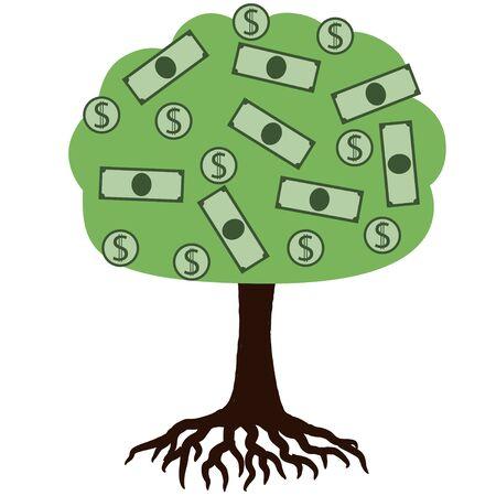 Money on the tree cartoon Фото со стока - 132471409