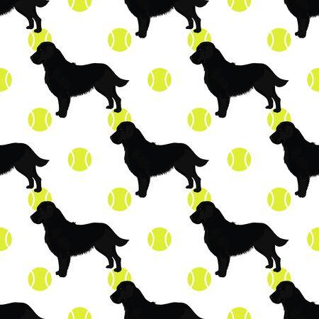 Black retriever dog seamless pattern