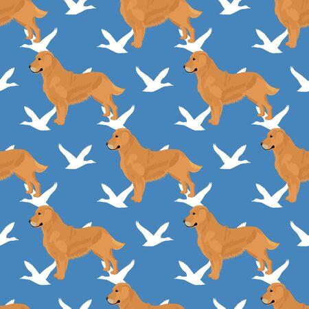 Golden retriever dog seamless pattern Illustration