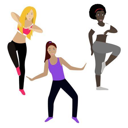 Fitness girls clip art on white