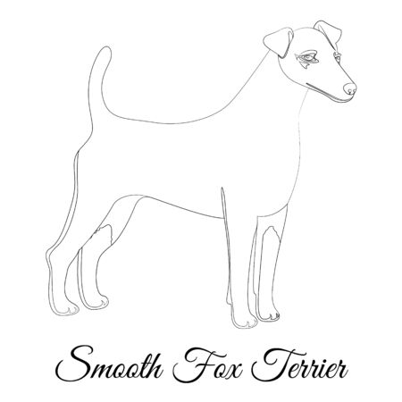 Smooth fox terrier dog outline Фото со стока - 135156623