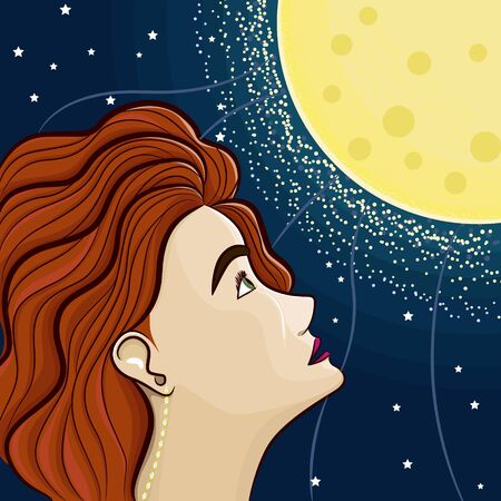Girl watches on the moon