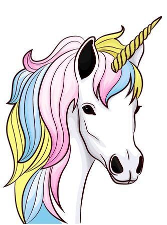 Unicorn head fairy tale character cartoon vector Çizim