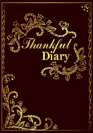 Thankful diary cover with curly ornate vector