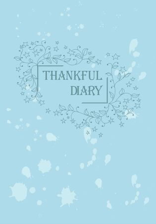 Thankful diary blue cover curly ornate vector