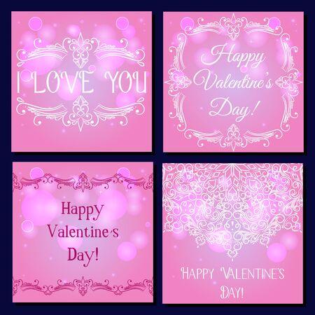 Set of square card happy valentine's day vector Çizim