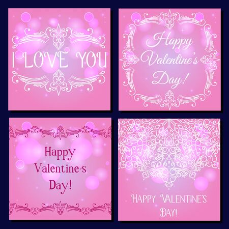 Set of square card happy valentine's day vector Illustration
