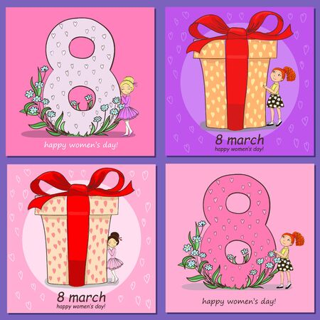 Set of square card happy valentine s day