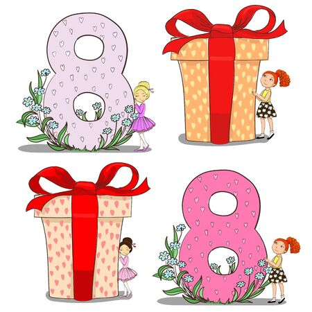 Set of girls with eight figure and gifts Illustration